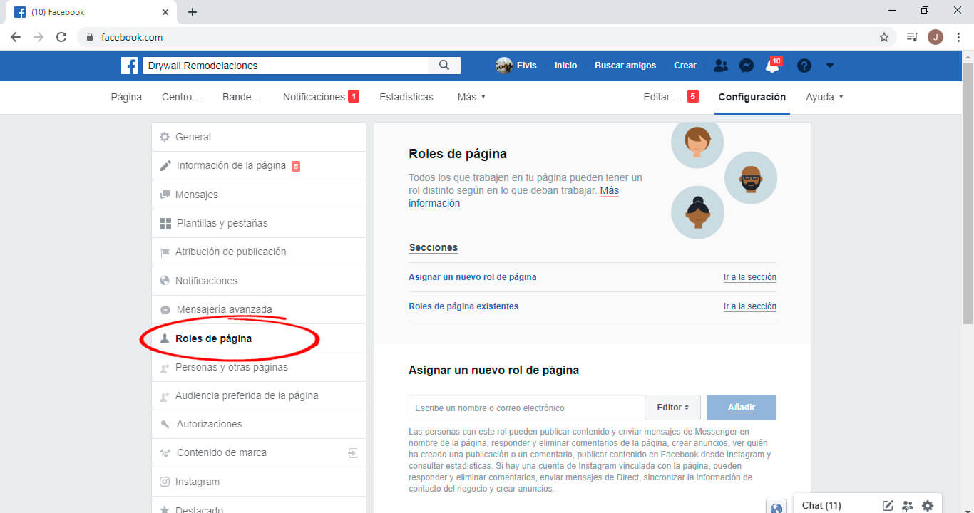 Roles de pagina en facebook