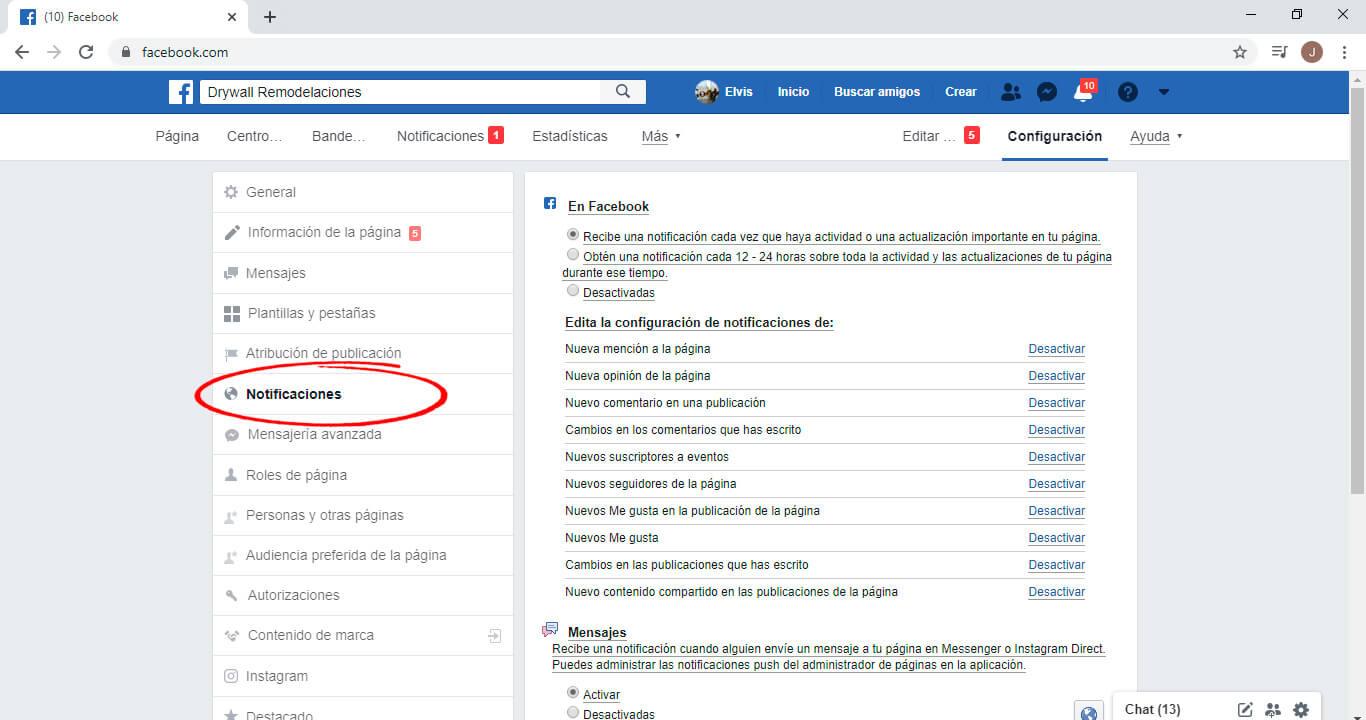 Configurar mensajes facebook