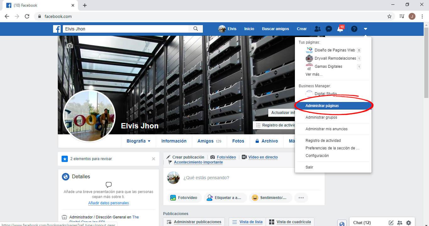 Administrar Pagina en facebook